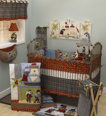 The Pirate pattern crib bedding sets are lovely to create a gorgeous boy nursery with this gorgeous baby bedding for boys! The baby bedding sets include coverlet, crib bumpers, crib sheet, dust ruffle, diaper stacker, curtain valance and so much more.
