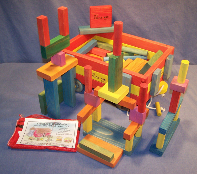 The Four Attributes of THE PUZZLE-MAN TOYS® as to safety, smoothness, non-chip and non-toxicity are listed below, please review!  All building blocks are handmade in the USA, which stands for quality!