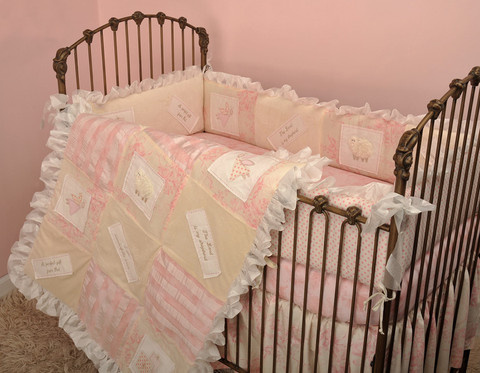 These crib bedding sets are of divine colors, design and quality! The set furbishes a complete baby cribs outfit ! 4 Piece Set includes: bumper, crib sheet, coverlet and dust ruffle.  Bumper comes in four sections       Made from 100% cotton