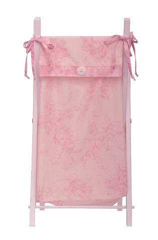 Part of the Heaven Sent Girl baby bedding sets collection is the white wood frame hamper. The hamper bag is made in pink and cream floral and perfect for the baby nursery.