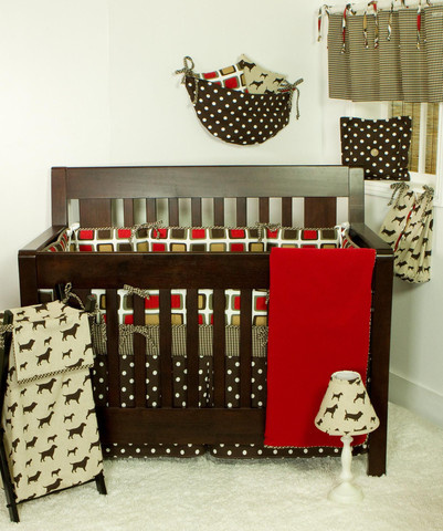 "The ""Houndstooth"" crib bedding sets collection is a wonderful mix of red, brown, tan and whites to compliment a stylish puppy print that is perfect for any baby boy nursery that contains warm, neutral tones.  The baby bedding sets accessories show a devotion to detail and caring design process, that truly proves to the quality of this sophisticated collection."
