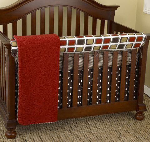 The Houndstooth Front Rail Cover-Up of the Crib Bedding Set is a gorgeous collection of colors! Vibrant reds, browns, tans, whites, and puppy print fabrics that are perfect for decorating your baby boy nursery. The 4pc Front Rail Cover-Up Set includes: front rail cover-up, fitted crib sheet, coverlet and dust ruffle.