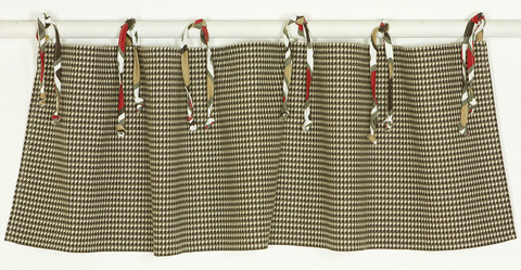 "The Houndstooth baby bedding sets collection is this curtain valance measuring 55"" x 16"".  The curtain valance is in the brown and tan houndstooth checker and attaches to a curtain rod. The ties are of the coordinated red, brown, tan and white fabric as seen in the crib bumper and the front rail cover. Very decorative window treatment ideas for your baby boy nursery!"