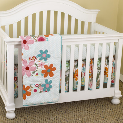 Just so perfect for a little girl to adorn her room with this beautiful combination in which the little Princess would feel right at home.  3 Piece Set includes: crib sheet, coverlet and dust ruffle  Made from 100% cotton