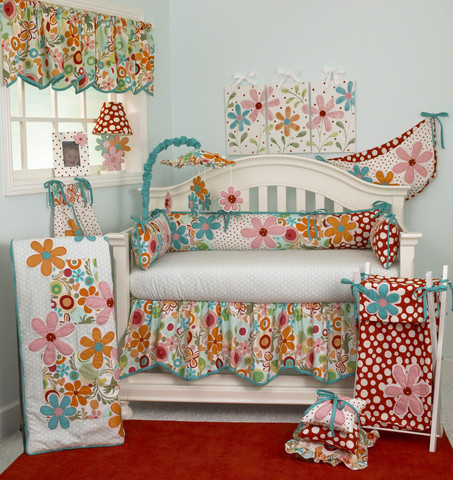 "This baby girl bedding is stunning full of colourful daisies and happy polka dots, which would make a gorgeous baby nursery! The 7 piece baby bedding sets include: crib sheet, coverlet, dust ruffle, diaper stacker, pillow pack, toy bag, and valance.      Diaper Stacker holds up to 48 folded diapers; measures 21"" x 9"" x 7""     Pillow Pack consists of three pillows measuring: 15"" x 15""and 12"" x 12"", and 10"" x 10""     Toy bag has a maximum capacity of 10 lbs.     Straight Valance measures 68"" x 18      Made from 100% cotton"