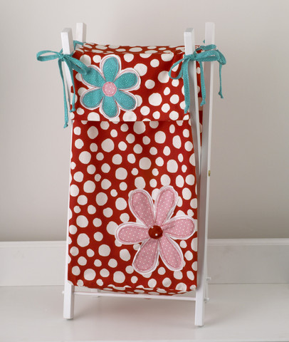 All Lizzie nursery accessories are designed for funcionality, great looks, coordination and most of all great quality.  The Lizzie laundry hamper is so wonderfully bright and ever so practical. The perfect touch in a baby girl nursery! Comes with a sturdy white lacquer frame, The laundry bag is decorated with  large white dots. Appliquéd daisies in pink and turquoise. Accented ties in turquoise bias.  100% percale cotton.