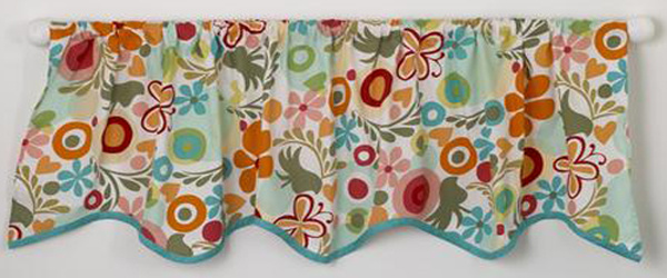 "Included in the Lizzie crib bedding sets collection is this curtain valance in a lovely floral pattern with turquoise trim. An adorable curtain valance to enhance the window of the baby girls nursery.  This curtain valance also matches the Lizzie dust ruffle. The curtain valance measures 55"" X 17"" and is 100% cotton. Rod pocket is 2 inches on top."