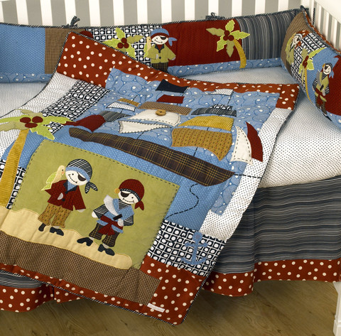 The Pirates crib bedding sets are a divine boy nursery bedding! The accessories show an attention to great detail and attest to a very elaborate design development that truly confirms the quality of this erudite baby boy nursery bedding collection.