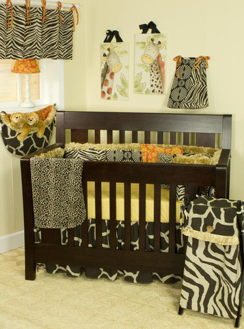 "Masterfully designed baby bedding sets representing African art and designer fabrics of tribal artistry a superb design in colour, design process and ingenuity! The 7 piece crib bedding sets include: crib sheet, coverlet, dust ruffle, diaper stacker, pillow pack, toy bag and valance.      Diaper Stacker holds up to 72 folded diapers; measures 16"" x 9"" x 7""     Pillow Pack consists of three pillows measuring: 15"" x 15"" and 12"" x 12""     Toy bag has a maximum capacity of 10 lbs.  Straight Valance measures 55"" x 16""  Made from 100% cotton"