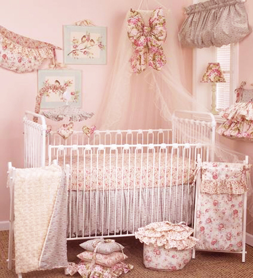 "Divine baby bedding sets are beaming with soft colors, bright pinks, subtle traces of blue and balancing whites to form a stylish baby nursery. The coverlet is made of rose faux fur on one side and the floral on the other side. The fitted crib sheet is a lovely pink paisley with swirls and curls. All the different fabrics with roses, flowers, swirls, and dots are coordinated throughout the crib bedding sets.   The 7 piece crib bedding sets include – fitted crib sheet, coverlet, dust ruffle, diaper stacker, pillow pack, toy bag, and curtain valance.  Diaper Stacker holds up to 48 folded diapers; measures 21"" x 9"" x 7"" Pillow Pack consists of three pillows measuring: 15"" x 15""and 12"" x 12"", and 10"" x 10"" Toy bag has a maximum capacity of 10lbs. Curtain valance measures 68"" x 18"" Made from 100% cotton"