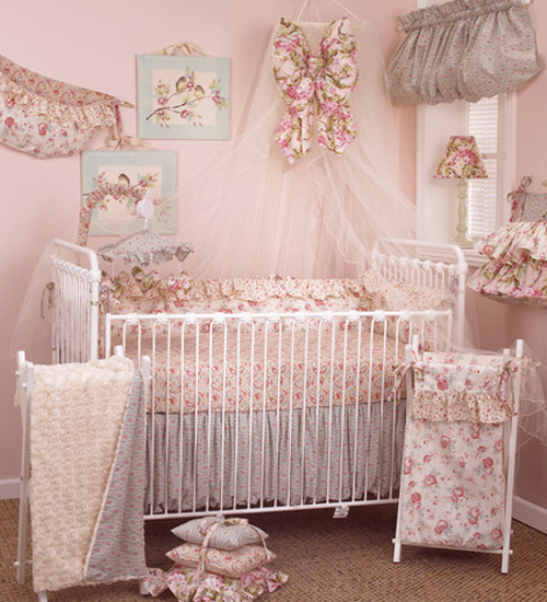 Tea Party 8 pc crib bedding sets collection is a beautiful combination of soft classic floral display with delightful vintage paisley swirls and curls mixed with rose faux fur, which would make your new Princess feel right at home. The 8 piece baby bedding sets include: crib bumper, fitted crib sheet, coverlet, dust ruffle, diaper stacker, pillow pack, toy bag, and curtain valance.