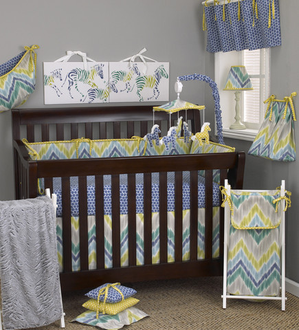 "The Zebra Romp 8pc crib bedding set is a wonderful neutral combination of lively fresh colors in citrus, periwinkle blue, two tones of turquoise and gray velvet fabrics in a chevron pattern, very suited for a baby boy nursery or baby girl nursery! The eight pieces are: Crib bumper comes in four sections: two long sections 52"" x 11"", two short sections 26"" x 11"" Diaper Stacker holds up to 48 folded diapers; measures 16"" x 9"" x 7"" Pillow Pack consists of three pillows measuring: 15"" x 15"" and 12"" x 12"", and 10"" x 10"" Toy bag has a maximum capacity of 10lbs. Curtain valance measures 50"" x 17"" Made from 100% cotton"
