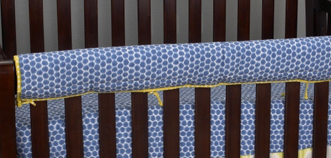 Zebra Romp Front Rail cover-Up is both function and design. The front rail cover up protects your footboard on the convertible cribs also it would supply a little safeguard for baby just in case a stumble would occur it would shield the baby and be a buffer! It is in a periwinkle blue with white hexagons!