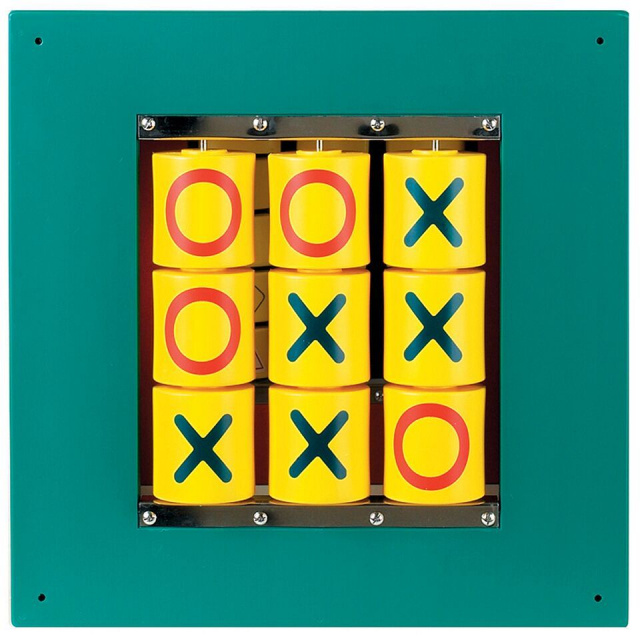 "This beautifully crafted classic game is here for the next generation to enjoy! It is designed to be wall mounted! Kids simply turn the cylinder to the ""X"" or ""O"" side to make their move. Kids will challenge logic and problem solving skills in this great classical game and provides hours of fun play."