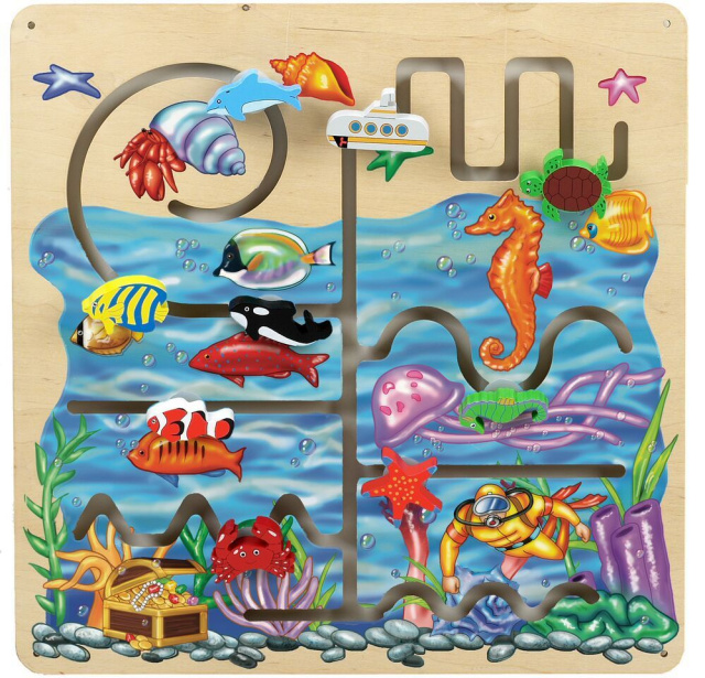 Children can explore the ocean depths, with underwater artwork of sea animals, a coral diver, and a treasure chest.  Guiding the pieces along the path, moving forward and backtracking which challenges the motor skills, enhances logical thinking, eye-hand coordination, and visual tracking.