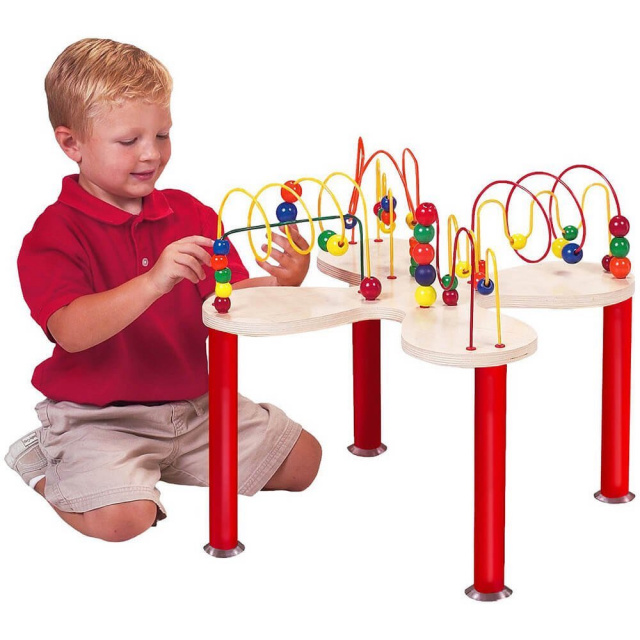 This is fun for kids play, the Mini Curves 'N' Waves Table challenges and develops visual tracking skills, eye-hand coordination, and shape and color recognition. Furthermore, it develops the brain and is great for cognitive development!