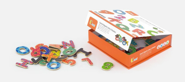 77 pieces of colorful magnetic letters and numbers for sticking on any magnetic surface.