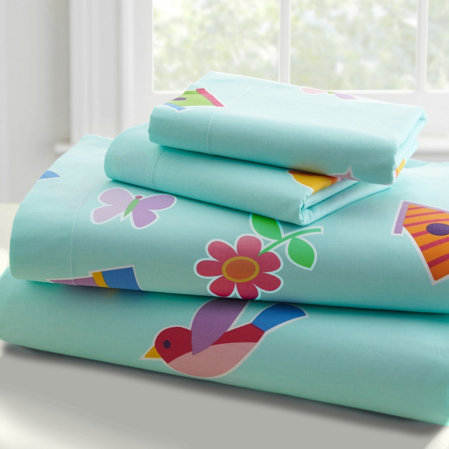 An adorable design and of outstanding quality. Birds, birdhouses and flowers are spread all over the girls bedding! Twin sheet set is 100% ultra soft percale cotton, 210 thread count.  Set includes: 1 fitted sheet, 1 flat sheet and 1 pillowcase.  Flat sheet: 66 in. x 96 in. Fitted sheet: 39 in. x 75 in. Pocket depth: 11in. Pillowcase: 30 in. x 20 in.