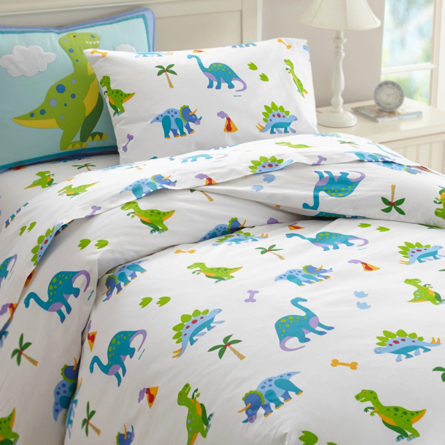 Our Dinosaur Land twin duvet cover have adorable dinosaurs wandering around.  Twin duvet covers measure 86 x 68 in. Soft cotton percale, 210 thread count. Button closure.