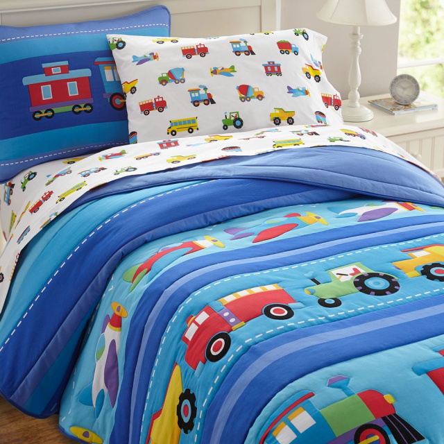 The twin comforter measures 68 x 86 inches. 100% cotton percale with a 210 thread count. The pattern depicts wonderful transportation vehicles. The reverse side of the comforter is blue of a cozy soft fleece.  The sham measures 26 x 20 inches and shows a locomotive wit a caboose, fitting a standard pillow.