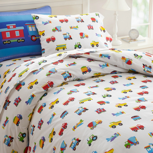 Twin duvet covers for boys bedding or girls bedding are covered with  transportation vehicles. The twin duvet cover coordinates with Trains, Planes & Trucks kids bedding sets! 100% cotton percale - measures 86 x 68 in.
