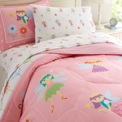 The comforter and shams are made of 100% cotton percale! Wonderfully designed with fairies, flowers, and stars adorning this magical Fairy Princess girls bedding. Making this kids bedding sets so perfect are the softly colored fairies with blue wings floating on a beautiful pink background across this enchanting comforter and the shams. The comforter also features embroidered details, coordinates with all the Fairy Princess girls bedding accessories. Made of 100% cotton percale!