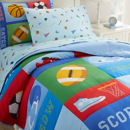 Our Game On kids bedding is 100% ultra soft cotton percale. The comforter is bright, cheery and richly covered with a variety of sport balls, sneakers, helmets, varsity letters and more.  The reverse is solid light blue, which gives such a well coordinated and finished look. 100% ultra soft cotton percale, 210 thread count. queen comforter measures: 86in x 86in Shams measure: 20 x 26 inches and fits a standard pillow The set includes a 100% cotton percale comforter and two shams Pure polyester batting Coordinates with the Full Sheet Set (not included)  There are two gorgeous shams included in this set. The shams have appliqué embroidery details and are a stunning decoration for any bed!.