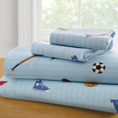 "These 100% finest cotton percale queen sheet sets are pinstriped with colorful sport equipment. Like a variety of balls, helmets, pennants, and sport equipment, This colorful, queen sheet set will delight any child Queen sheet sets consist of - Flat Sheet: 96"" x 81"",  Fitted Sheet: 75"" x 54""  x 10"", Pillow Case: 20"" x 30""."