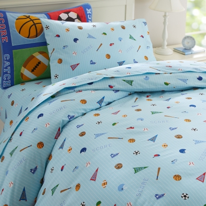 "On a brightly light blue colored background balls, pennants, sneakers, varsity lettering, helmets, decorate this ultra soft luxurious queen duvet covers! This duvet covers coordinates perfectly with all our Game On kids bedding sets collection! Kids can dream wonderful dreams of adventures in action sports, may it be baseball, football, running, high jumping or any sport. The Full/Queen Duvet measures: 86 x 86"", with a hidden button closure. 100% ultra soft cotton percale and a 210 thread count."