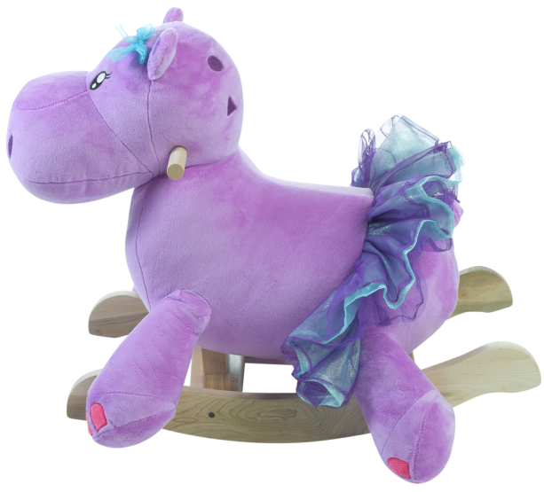 "Gracie is not just any hippopotamus, but a very graceful dancing hippo.  How many baby girls get to ride on a dancing hippo? Gracie says, ""not enough, I want to come to your house""!  Your little rider gets to go on a fun safari anytime they want.  Press the buttons on the back of my head to activate original songs that teach ABC, learn counting from 1-10, identify colors,  shapes and so much more.  I have hidden surprises like squeakers and crinkle.    She has a North American maple hardwood base, easy grip maple handles and she is covered in the softest most luxurious fabrics."