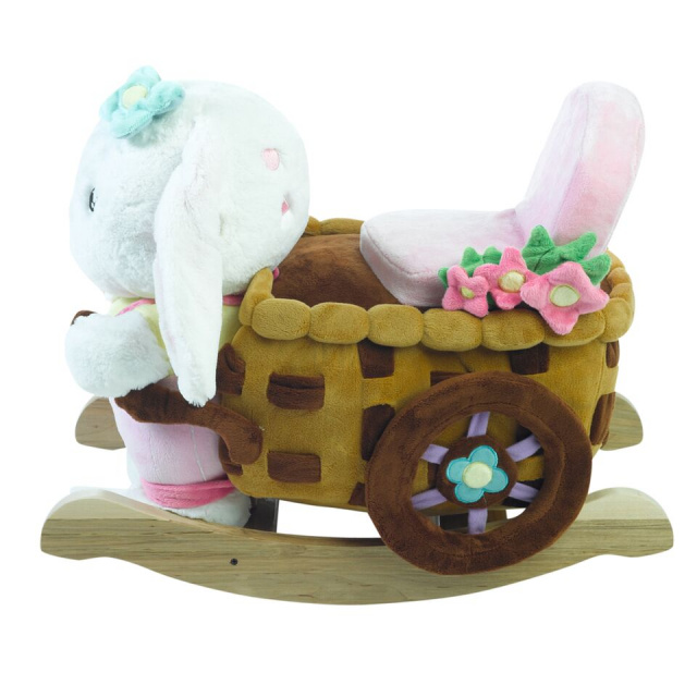 Located on the back of Beatrice Bunny's head, baby will find 4 shaped buttons that activate original songs that teach the ABC's, learn to count from 1 through 10, identifying colors, shapes and more.  Complete with a sturdy padded seat and hidden surprises like squeakers and crinkle, natural wooden base and easy grip wood handles Beatrice Bunny is perfect.