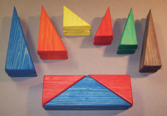 "These set of 18 triangles will make a nice addition to any building block set! the following style of triangles shapes: 2- 2"" wide x 4"" Long    2- 2"" wide x 5"" Long    2- 2"" wide x 7"" Long    2- 3"" wide x 3"" Long    2- 3"" wide x 6"" Long    2- 3"" wide x 8"" Long  4- 3"" wide x 4"" long   2- 3"" wide x 8"" long."